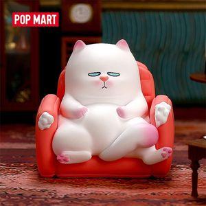 POPMART VIVI CAT lazily sitting S1 Blind Box Doll Binary Action Figure Birthday Gift Kid Toy Action Figure free shipping LJ201031