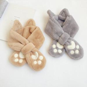 Children's Faux Fur Cross Ring Collar Cute Kitten Feet 2020 Autumn Winter New Outdoor Warmth Thick Wool Cotton Girls Baby Scarf