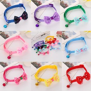 Bowknot Small Cat Collars Adjustable Buckle Bow Tie Puppy Dog Collar Cute Small Dog Collar with Bells Cute Pet Collars