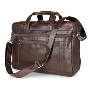 Genuine Leather Business 17 Inch Computer Bag Laptop Briefcase Men Office Bags Maletines Hombre