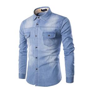 2020 New Denim Shirt Men Long Sleeve Slim Mens Jean Shirt Top quality Cotton Double Pockets Casual Male Cowboy Shirt Size 6XL