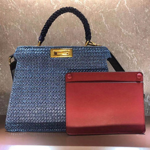 Frauen Handtasche Große Kapazität Packung Einkaufstüten Mode Brief Stroh aushöhlen hochwertiger gewebter Stil Ebene breite Schultergurt Tote