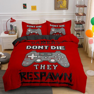 Gamepad Bedding Set for Boys Modern Gamer Comforter Cover Video Game Duvet Kids Colorful Action Buttons Printed