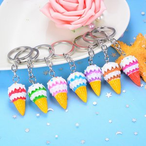 50pieces Trendy Mixed Color Cute Mini Ice cream Pendant Acrylic Keychain For Women Girls Bags Keyring Jewelry