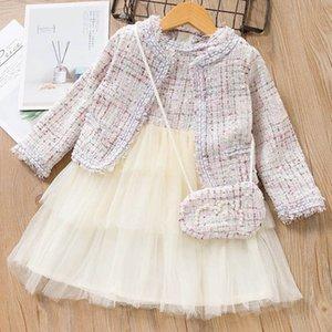 Fashion girls suits autumn winter new 2020 designer girls outfits woolen coats+ dresses+bags 3pcs set princess kids suits retail B2957