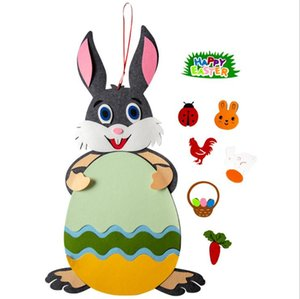 Easter Bunny Felt Pendant DIY Wall Hanging Decorations Detachable Children Intelligence Toy Easter Party Gift Ornament Home Decor BT1031