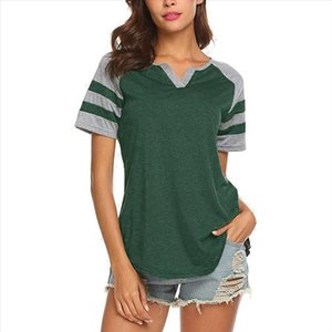 Womens Summer Casual Striped Short Sleeve V Neck Women Sport T Shirt Color Block Casual Tops Loose Baseball Tshirts Top