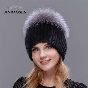 Jinbaosen Venta Caliente Moda Invierno Mujeres Cálidas Tapas de punto Mink Sombreros con Piel Fox Vertical Tejido Top 201215