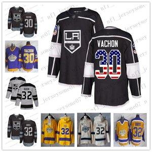 2020 Özel Erkek Bayan Gençlik Los AngelesKrallar30 Rogie Vachon 32 Jonathan Quick White Golden Edition Sınırlı Dikişli NHL Jersey
