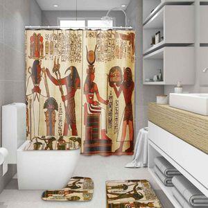 Ethnic Tapestry Ancient Egypt Printed Bathroom Shower Curtains Pedestal Rug Lid Toilet Cover Bath Mat Set Bath Waterproof Carpet T200711