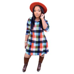 Winter European and American hot style women's contrast color plaid round neck long sleeve stitching dress 9282