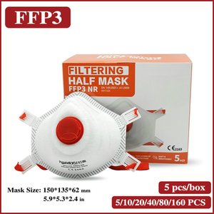 FFP3 Face Valve Mask Headband Headwear Mouth Masks 5 Layers Filter Half Cup With Valve Breathing Mask Dustproof Respirator