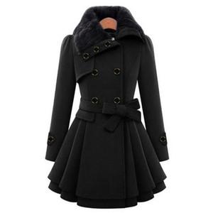 Feitong vinatge mulheres espessas casaco quente mulheres outwear botão botão fechamento assimétrico hem hem casaco de lã feminina