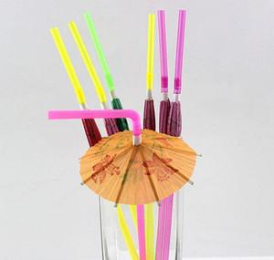Baratos de plástico de la paja de las sombrillas de los parasolas de los parasoles de los paraguas de las elegantes suministros del evento de la boda los días festivos Luau STIC JLLLOKY YUMMY_SHOP