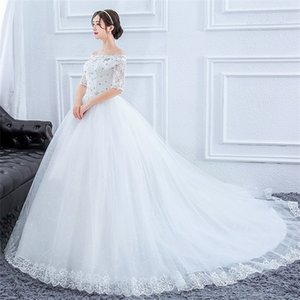 Plus Size Gorgeous Long Train Lace Beaded Ball Gown Of The Shoulder Elegant Bride Dresses Luxury Wedding Gowns Q1113