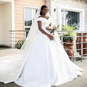 2021 Africa Wedding Dresses White Satin A-line For Bride Arabic Middle East Church Nigerian Wedding Gown Court Train
