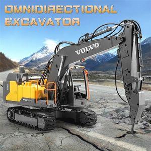 Alloy Excavator 1:16 Rc Alloy Excavator Big Rc Trucks Simulation Excavator Remote Control Vehicle Toys For Boys LJ200919