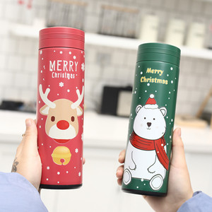 Christmas Vacuum Cup Water Bottles 500ml Insulated Double Wall Travel Water Stainless Steel Outdoor Water Bottles 30pcs T1I3014