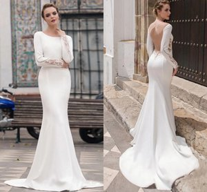 2021 Modest Mermaid Wedding Dresses Long Sleeves Lace Boho Garden Bridal Gowns Simple Satin Backless Sweep Train Vestidos De Novia AL7769
