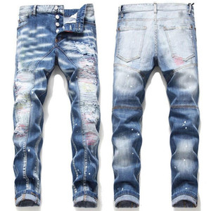 Mens Rips Stretch Black Jeans Fashion Slim Fit Washed Motocycle Denim Pants Panelled Hip HOP Trousers A10 Nog