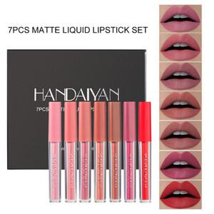7Pcs Set Matte Liquid Lip Gloss Set Sexy Matte Liquid Lipstick Set Waterproof Long-Lasting Lip Gloss Tubes Tint Liner Makeup