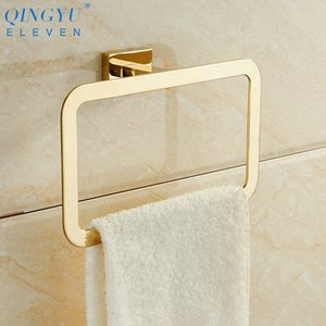 QINGYU ELEVEN Square Towel Rings Luxury Gold Polished Stainless Steel Wall-Mounted Towel Hooks Towel Rings for Bathroom T200605