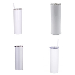600ML Plastic Straw Slim Cups 20oz Sublimation Blank Straight Tumbler Stainless Steel DIY Mugs Drink Water Gift Plain White G2