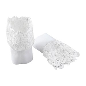 Women Decorative Layered Horn Cuffs Bracelet Embroidery Leaves Lace Fake Sleeves X7JB