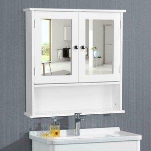 Wall Mount Bathroom Storage Cabinet Kitchen Cupboard Organizer W  Mirror Doors