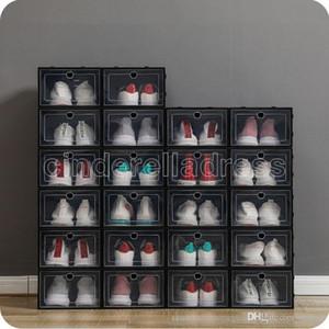 رشاقته الصناديق الأحذية البلاستيكية واضحة الغبار حذاء تخزين مربع شفافة فليب الحلوى اللون constrackable الأحذية المنظم صناديق بالجملة 0269pack