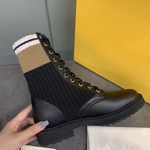 Donne Ankle Martin Boots Black Leather Biker Boots Designer Scarpe Rockoko Combat Boots Stivali Stretch Tessuto Inserti Australia Stivaletti