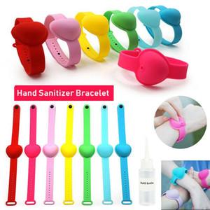 1 Piece Portable Heart Shape Silicone Hand Sanitizer Dispenser Bracelet Disinfect Liquid Wristband For Adult Kid 7 Colors