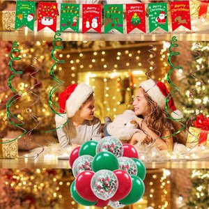 Christmas Balloons Decoration Party Supplies Set Xmas Balloon Decor Banner Hanging Swirls Santa Claus Foil Balloons Elk Gift Kimter-Z81Z