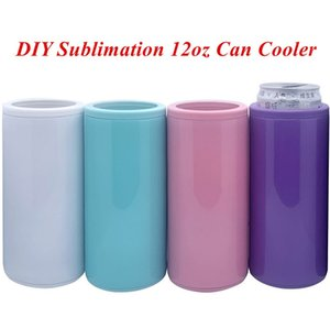 DIY sublimação 12oz pode refrigerador Slim pode isolador isolador de aço inoxidável tumbler vácuo isolado frasco isolamento frio