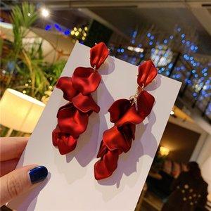 Bohemian Long Flower Resin Earrings Red Statement Bridal Earrings Rose Petal Dangle Earring Women Jewelry Exaggerated