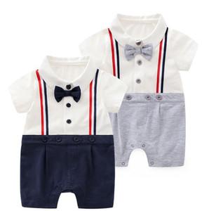 Baby boys romper gentleman bow tie jumpersuit