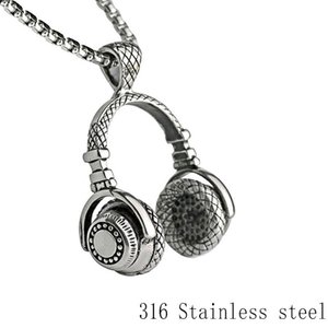 men rock headset necklace headset mens man stainless steel music dj headphone pendant for men male punk retro trendy jewelry