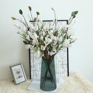 Hxroolrp 76cm Artificial plants Fake Flowers Leaf Magnolia Floral Wedding flowers Bouquet artificial for home decor F1