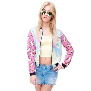 Hot sale Brand Women Bomber Jacket 3D Printed Princess Crown Outwear Coats University College chaquetas Basic Jackets