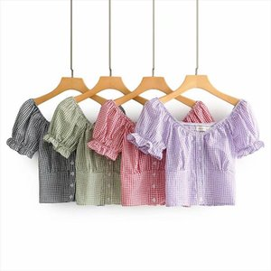 Women Blouse Square Collar Puff Sleeve Short Plaid Print Buttons Blouse Slim Blouses Tops Bottoming Shirts