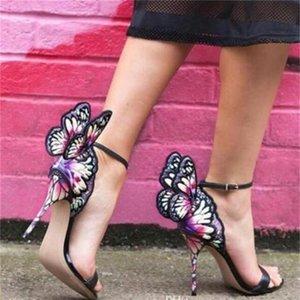 Sophia Webster الإناث فراشة مجنح النساء حزب عالية الكعب الصنادل الأحذية رقيقة الكعب مضخات الزفاف أحذية المصارع الإناث تظهر sandalias