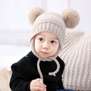 Kid's Knitted Beanies Hat 2020 Winter Boy Girl Soft Warm Cotton Cap Plush Ball for Newborn Baby Toddler Elastic Head Clothing J1203