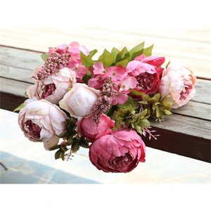 Peony Bunch Silk Fleurs artificielles Simulation Simulation de l'huile de pivoine européenne Peoney fleur Hydrangea fleur 15 Couleur pour mariage