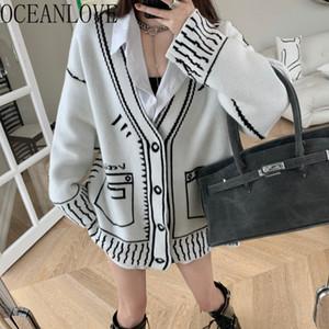 OceanLove Cardigans Femmes Sweaters Printer le col V Lâche Vintage Vert automne Hiver Mujer Chaqueta Coréen 2020 Vêtements 18953 C1120