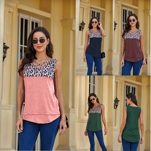Women's spring and summer new top V-neck leopard print tank top T-shirt