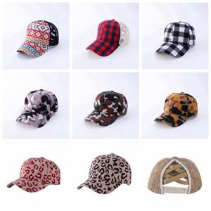 Unisex Buffalo Plaid Criss Cross Ponytail Cap Fashion Outdoor Baseball Cap Women Mens Backpack Adjustable Mesh Hat DDA833