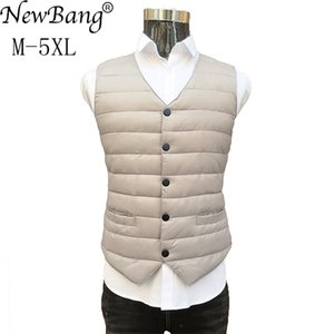 NewBang Brand 7XL 8XL Lager Size Men's Suit Warm Liner Ultra Light Down Vest Men Portable V-neck Sleeveless Without Collar Q1119