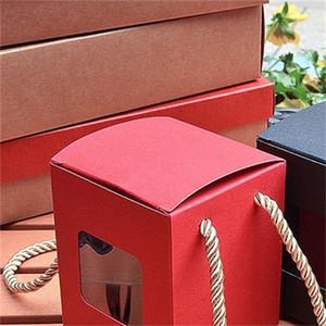 Quadrato Mini Gifts Boxes Window Kraft Paper Moda Caso Donne Donna Imballaggio Organizzatore Vintage Style Vendita calda 0 72mz F2