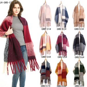 European and American autumn and winter new style circle sand coarse fringed big grid horizontal striped plaid scarf shawl scarf
