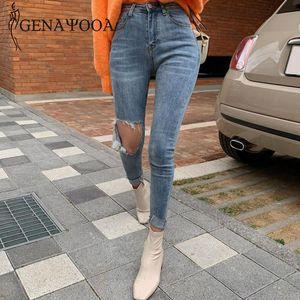 Genayooa Harajuku Riss für hohe Taille Skinny Women Streetwear Slim Damen Jeans Hosen Denim Koreaner Stil